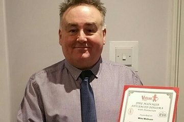Vulcan congratulate Mike Methuen on passing his Fire Manager Advanced Diploma